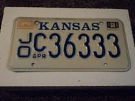 1988 KANSAS License Plate JO C 36333