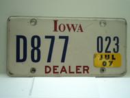 2007 IOWA Dealer License Plate  D877 023