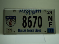 2011 MISSISSIPPI Nurses Touch Lives License Plate 8670 NF
