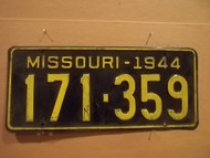 1961 Dec Missouri 954 433 license plate DMV clear