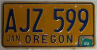 Jan 1982 AJZ 599 License Plate