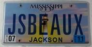 2011 July Mississippi Vanity License Plate JSBEAUX