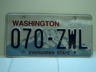 Washington Evergreen State License Plate 070 ZWL