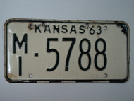 1963 KANSAS License Plate MI 5788