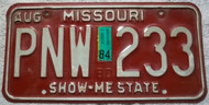 1984 Aug Missouri License Plate PNW 233 DMV Clear