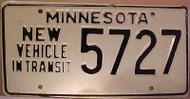 1980's Minnesota New Vehicle In Transit License Plate 5727