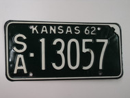 1962 KANSAS License Plate SA 13057