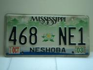 2003 MISSISSIPPI Magnolia License Plate 468 NE1