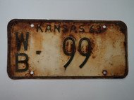 1963 KANSAS License Plate WB 99