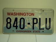 WASHINGTON Evergreen State License Plate 840 PLU