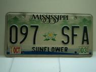 2003 MISSISSIPPI Magnolia License Plate 097 SFA