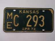 1973 KANSAS License Plate ME C 293