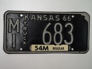 1966 KANSAS 54M Truck License Plate MI 683