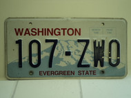 WASHINGTON Evergreen State License Plate 107 ZW0