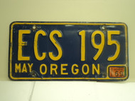 1969 OREGON License Plate ECS 195