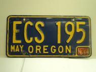 1969 OREGON License Plate ECS 195