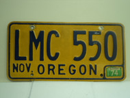 1974 OREGON License Plate LMC 550