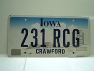 IOWA License Plate 231 RCG