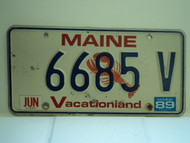 1989 MAINE Lobster Vacationland License Plate 6685 V