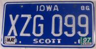 1997 May Iowa Scott Co License Plate XZG 099