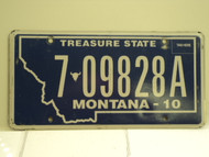2010 MONTANA Treasure State License Plate 6 09828A