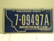 2010 MONTANA Treasure State License Plate 7 09497A