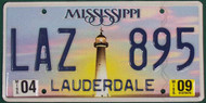 2009 Apr Mississippi LAZ 895 License Plate