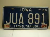 1986 1996 IOWA Travel Trailer License Plate JUA 891