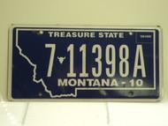2010 MONTANA Treasure State License Plate 7 11398A