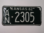 1962 KANSAS License Plate An 2305