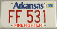 1999 Arkansas Firefighter License Plate FF 531