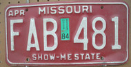 1984 Apr Missouri FAB-481 License Plate DMV Clear YOM