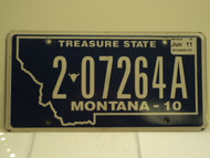2010 2011 MONTANA Treasure State License Plate 2 07264A