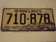 1954 MINNESOTA 10,000 Lakes License Plate 710 878