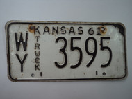 1961 KANSAS Truck License Plate WY 3595