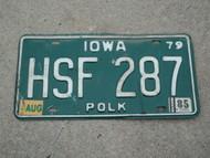 1979 1985 IOWA License Plate HSF 287