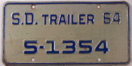 1964 SD South Dakota Trailer 5-1354 License Plate