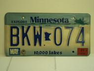 2001 MINNESOTA Explore 10,000 Lakes License Plate BKW 074