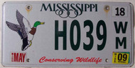2009 May Mississippi Duck License Plate H039 WM