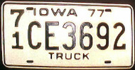 1977 Iowa 71 O'Brien Co Truck License Plate