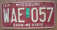 1984 Sep Missouri WAE-057 License Plate DMV Clear YOM