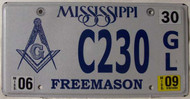 2009 Jun Mississippi Free Mason License Plate