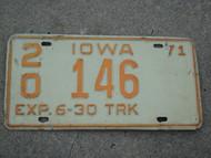 1971 IOWA Truck License Plate 20 146