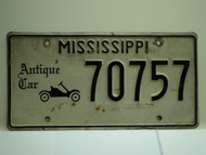 MISSISSIPPI Antique Car License Plate 70757