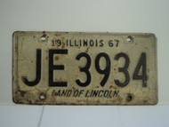 1967 ILLINOIS Land of Lincoln License Plate JE3934