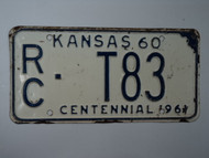 1960 KANSAS 1961 Centennial Truck License Plate RC T83