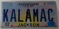 2011 Feb Mississippi Vanity License Plate KALAMAC