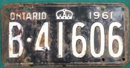 1961 Ontario B 41606 License Plate Canada