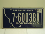 2010 2012 MONTANA Treasure State License Plate 7 60038A