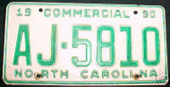 1990 North Carolina AJ-5810 Comm'l License Plate
